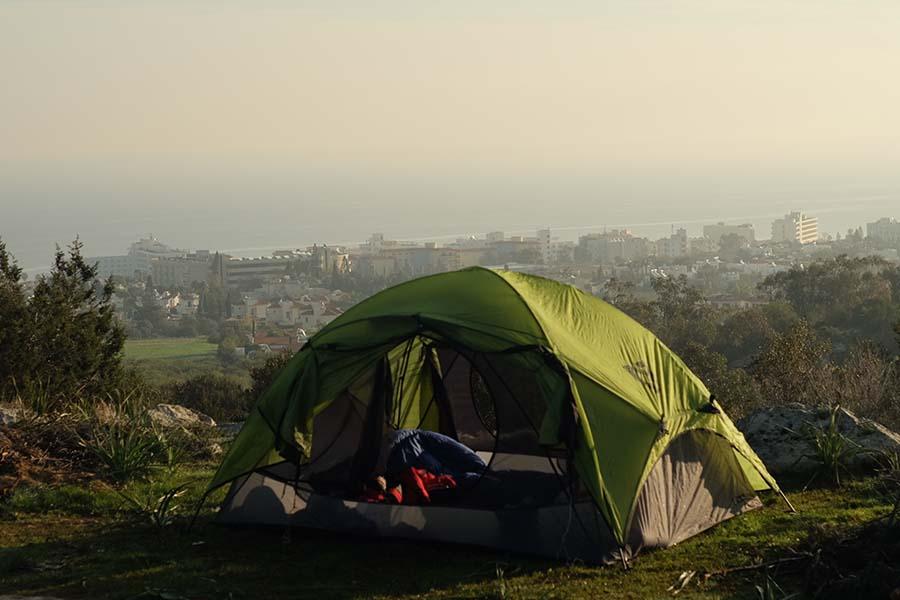 Кипр, палатка над Протарасом на рассвете