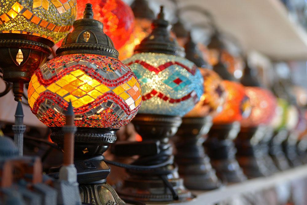 Лампы из цветного стекла из Турции