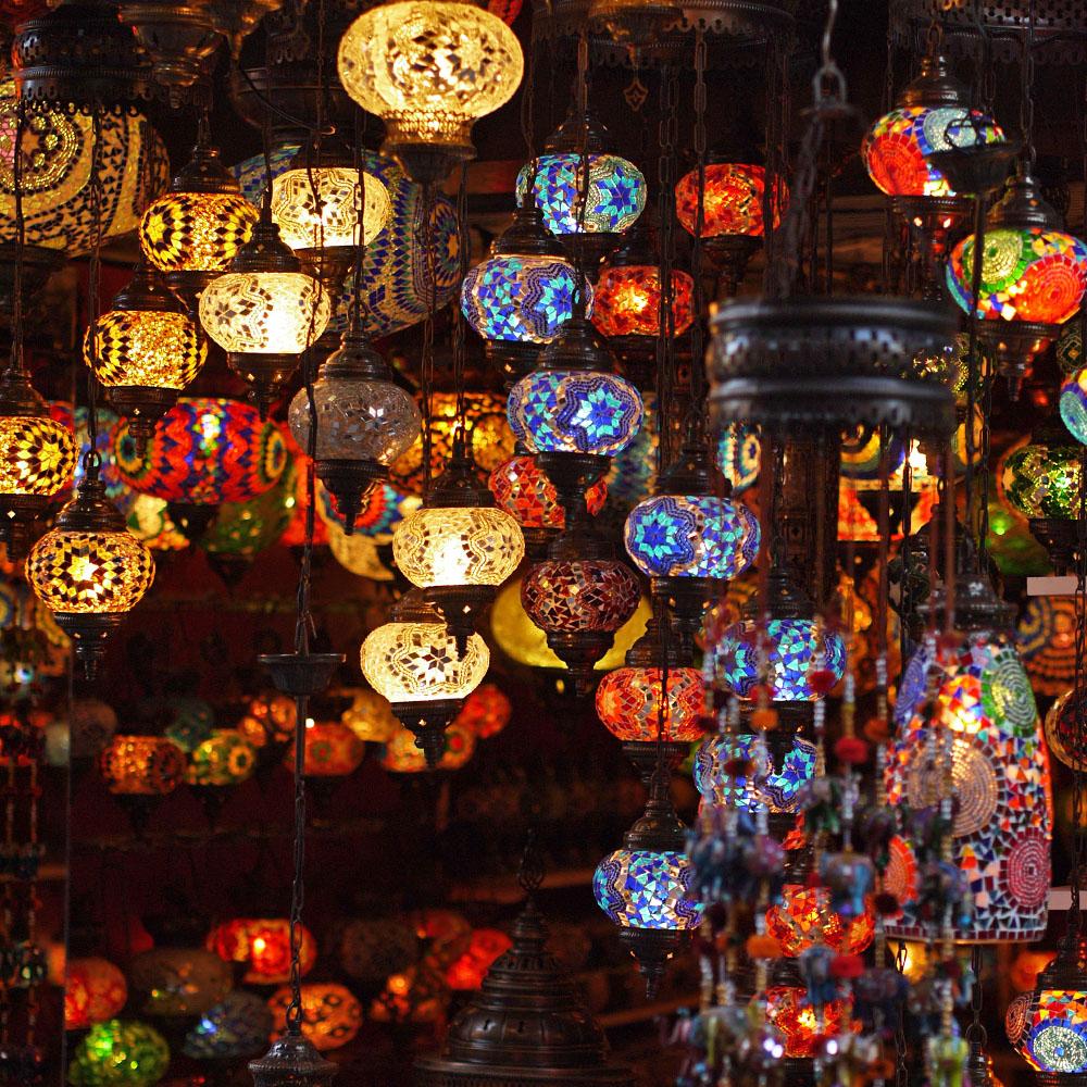 Турецкие лампы из цветного стекла