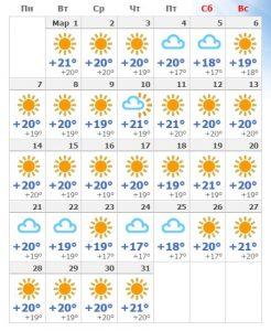 Погода на Тенерифе в марте