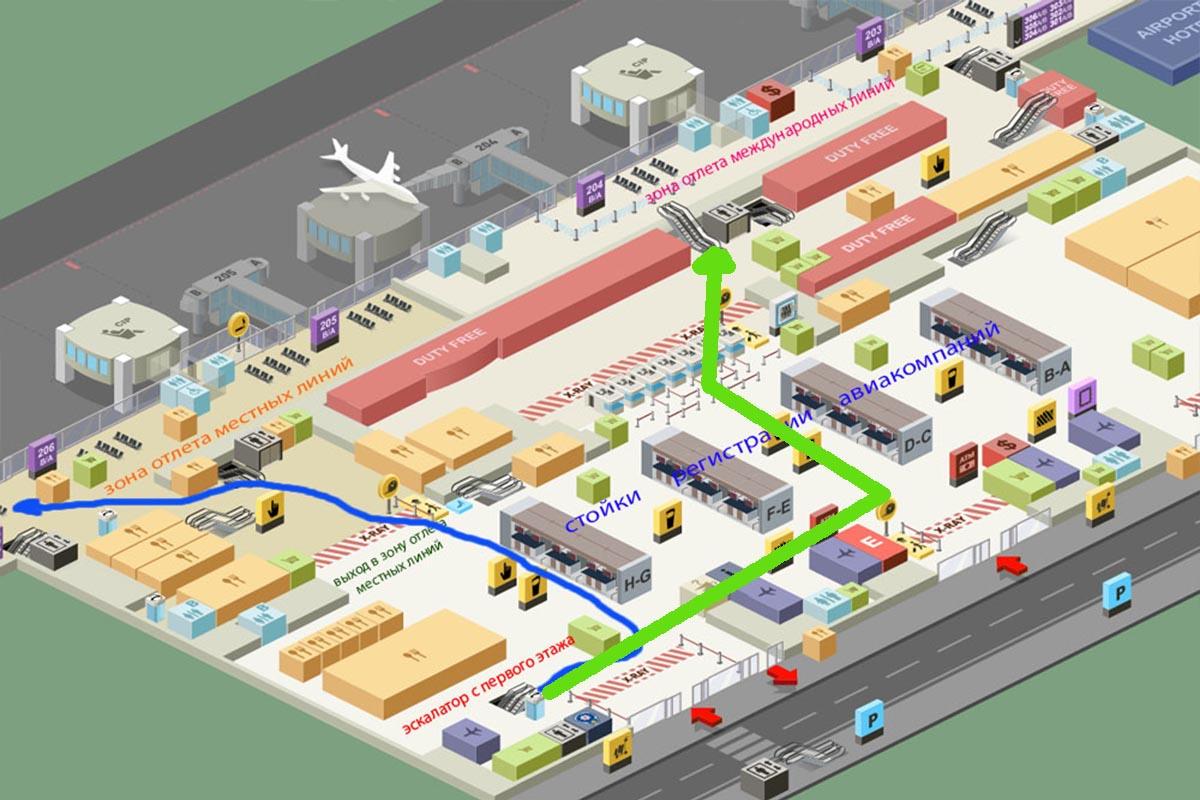 схема аэропорта Сабиха второй этаж