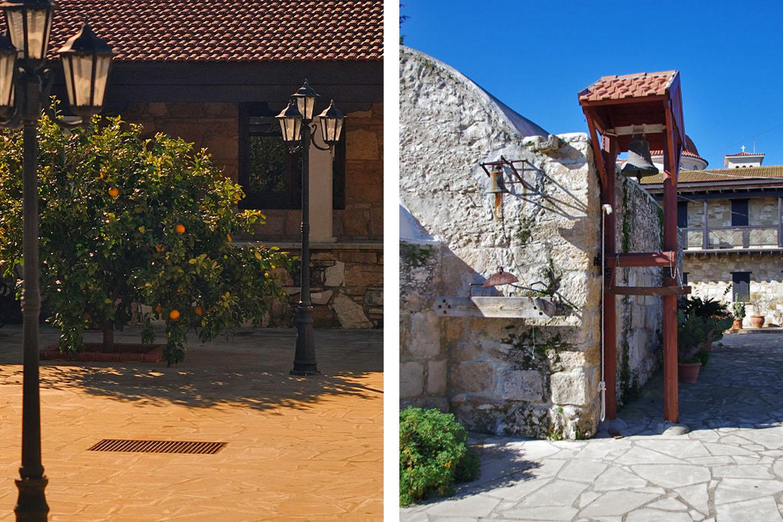 Монастырский дворик - фонарики и колоколенка