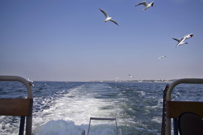 Дорога на остров Джарылгач на кораблике