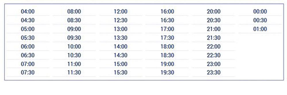 Расписание шатлов Havatas