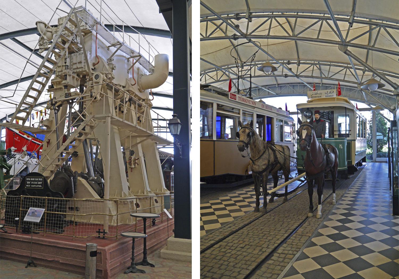 корабельный двигатель и трамвай на конной тяге