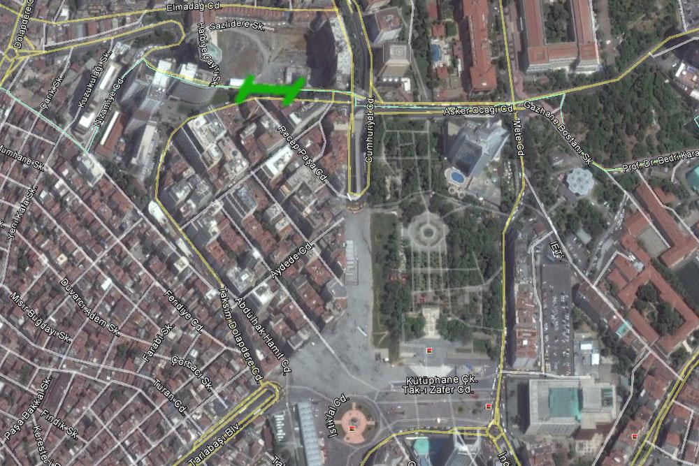 Остановка шатлов Havatas, площадь Таксим на карте
